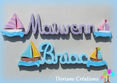Prénom lettres bois avec bateaux