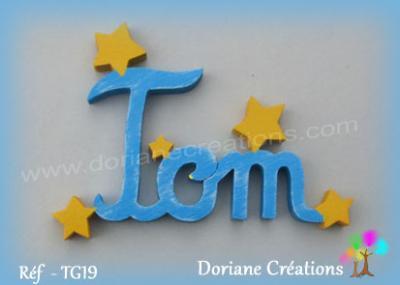 Prénom lettres bois avec étoiles unies