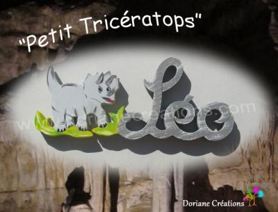 03 Lettres Prénom en bois Tricératops