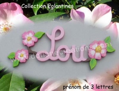03 Lettres - Prénom en bois églantines