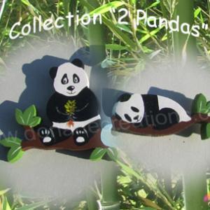 Prenom en bois 2 pandas