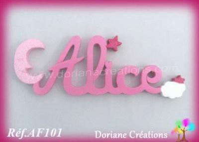 Prénom lettres en bois Alice