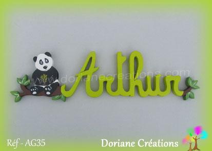 Prenom en bois arthur panda 1