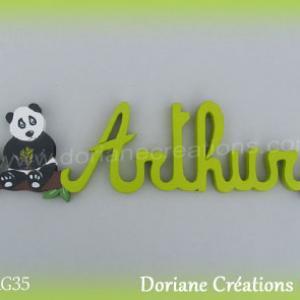 Prenom en bois arthur panda 2