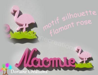 22- Motif silhouette flamant rose pour prénom en bois
