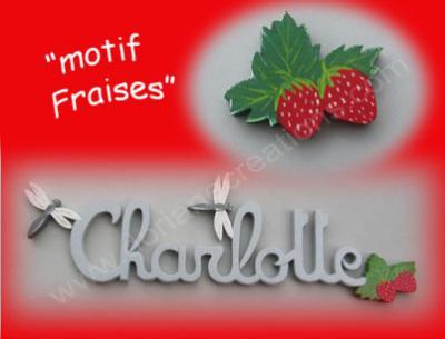 04 - Motif fraises pour prénom bois