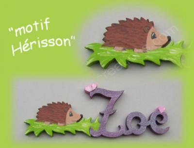 03 - Motif hérisson pour prénom en bois