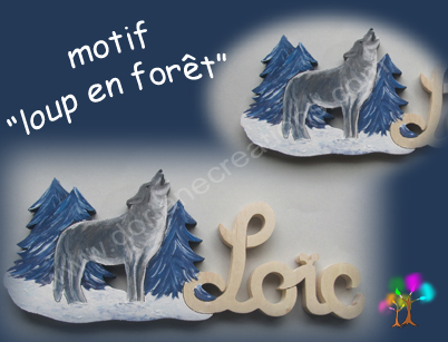 Prenom en bois avec loup