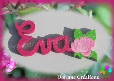 03 letttres - Prénom en bois avec rose