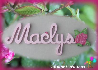 Prenom en bois avec rose 6l