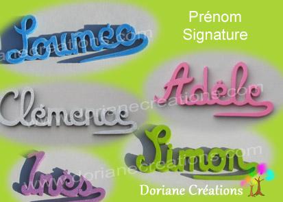 Prenom en bois avec signature