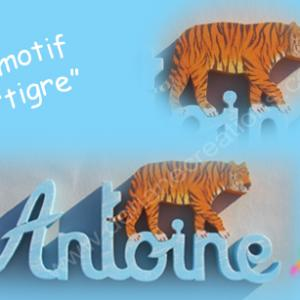 Prenom en bois avec tigre