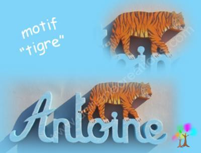 10 - Motif prénom en bois tigre 1