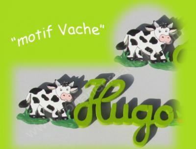 01 - Motif vache pour prénom bois