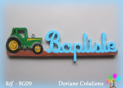Prenom en bois baptiste tracteur 2