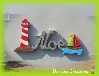 03 Lettres - Prénom en bois phare et bateau