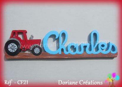 Prenom en bois charles tracteur