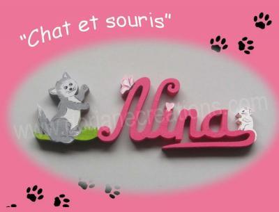 04 lettres - Prénom bois Chat et Souris