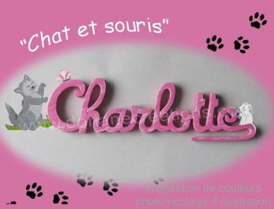 10 lettres - Prénom bois Chat et Souris