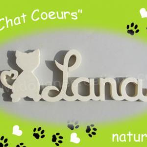 Prenom en bois chat naturel