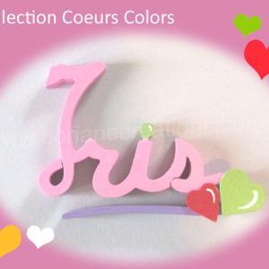 Prenom en bois coeur iris