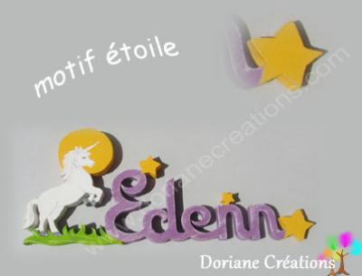 20- Motif étoile jaune pour prénom en bois