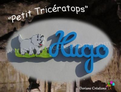04 Lettres Prénom en bois Tricératops