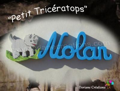 05 Lettres Prénom en bois Tricératops