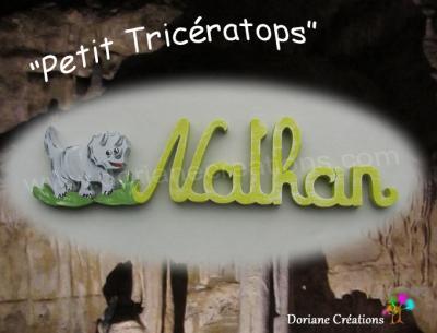 06 Lettres Prénom en bois Tricératops