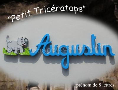08 Lettres Prénom en bois Tricératops