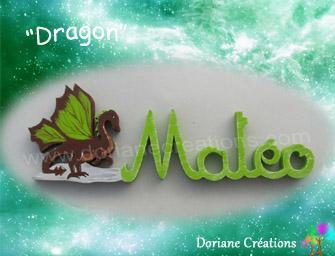 05 lettres - Prénom en bois dragon