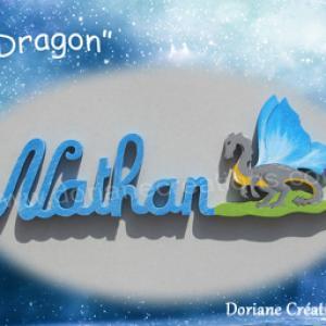 Prenom en bois dragon 6 l