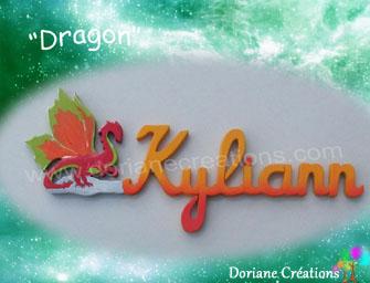 Prenom en bois dragon 7l