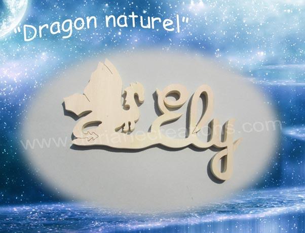 Prenom en bois dragon naturel