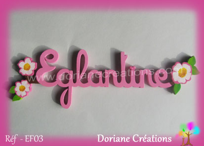 Prenom en bois eglantine 1