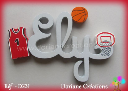 Prenom en bois ely theme basket ball 1