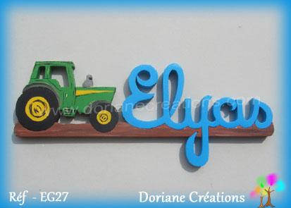 Prenom en bois elyas tracteur