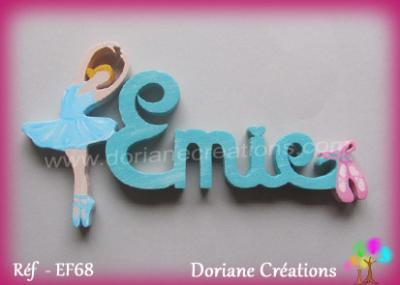 04 -Prénom lettres bois avec danseuse et chaussons