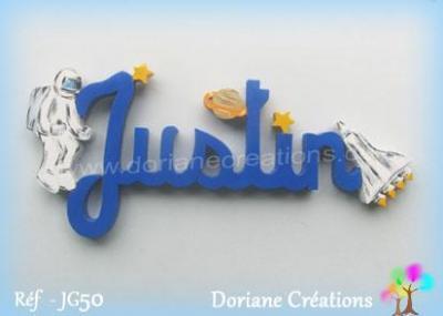 Prénom lettres en bois Justin