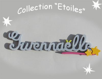 10 Lettres - prénom bois signature étoiles