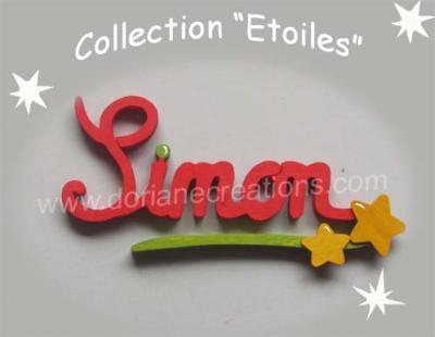 05 Lettres - prénom bois signature étoiles