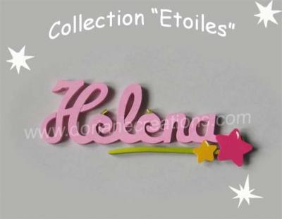 06 Lettres - prénom bois signature étoiles