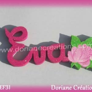 Prenom en bois eva rose