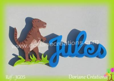 Prénom lettres bois avec décor T-Rex
