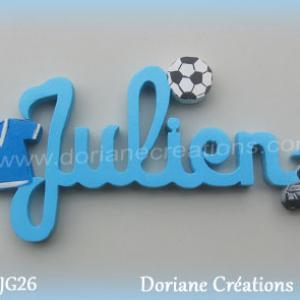 Prenom en bois julien theme foot