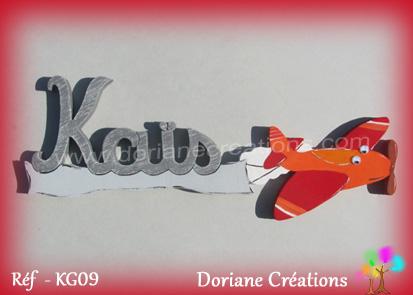 Prenom en bois kais décor avion