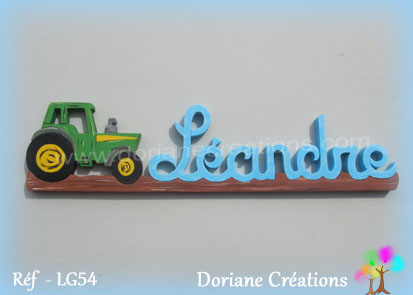 Prenom en bois leandre tracteur