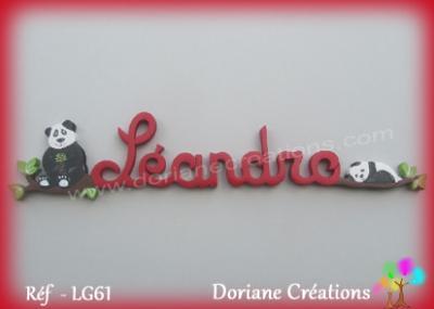 Prénom lettres en bois Léandro