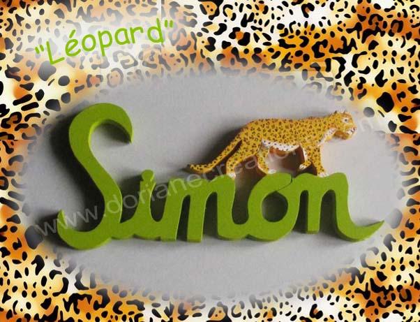 Prenom en bois leopard 5l