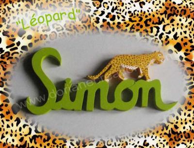 05 lettres- prénom en bois léopard